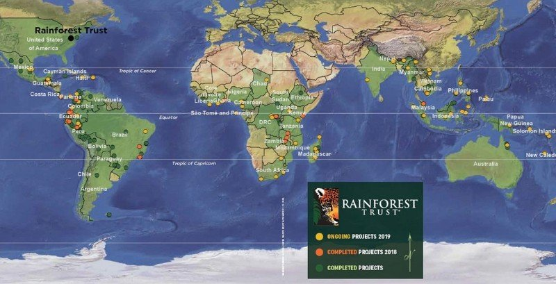 Rainforest Charity Protection Map